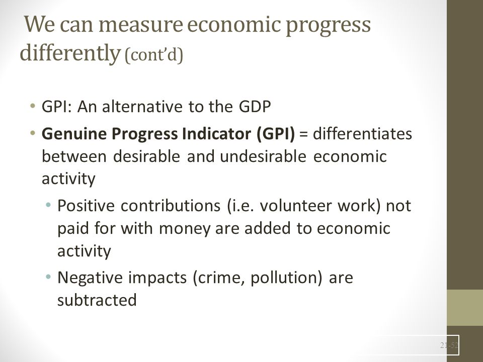 We can measure economic progress differently (cont'd)
