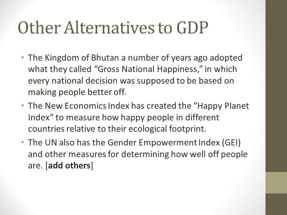 Other Alternatives to GDP
