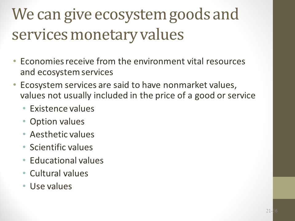 We can give ecosystem goods and services monetary values