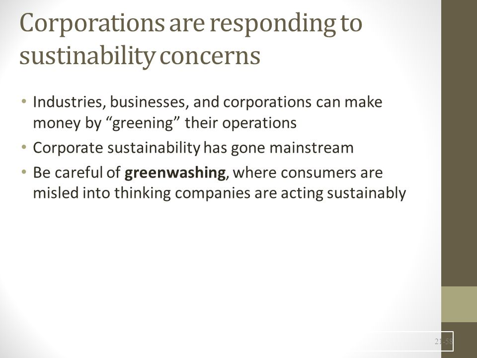 Corporations are responding to sustinability concerns