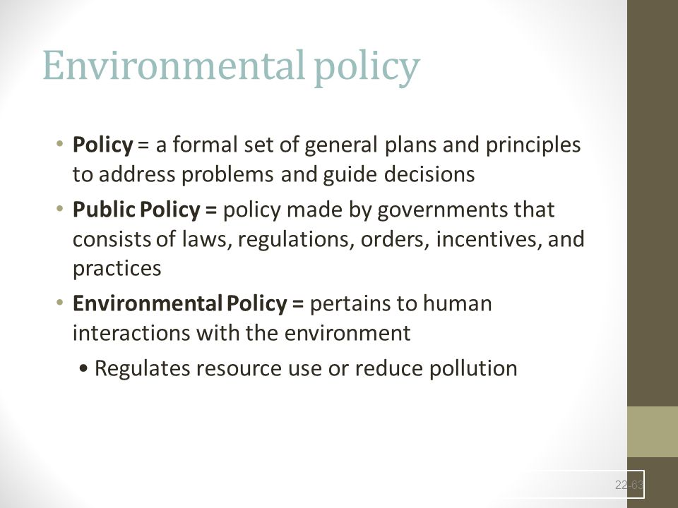 Environmental policy Policy = a formal set of general plans and principles to address problems and guide decisions.
