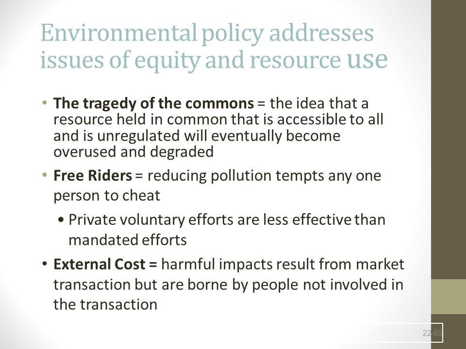 Environmental policy addresses issues of equity and resource use