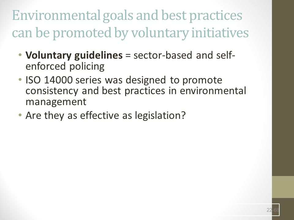 Environmental goals and best practices can be promoted by voluntary initiatives