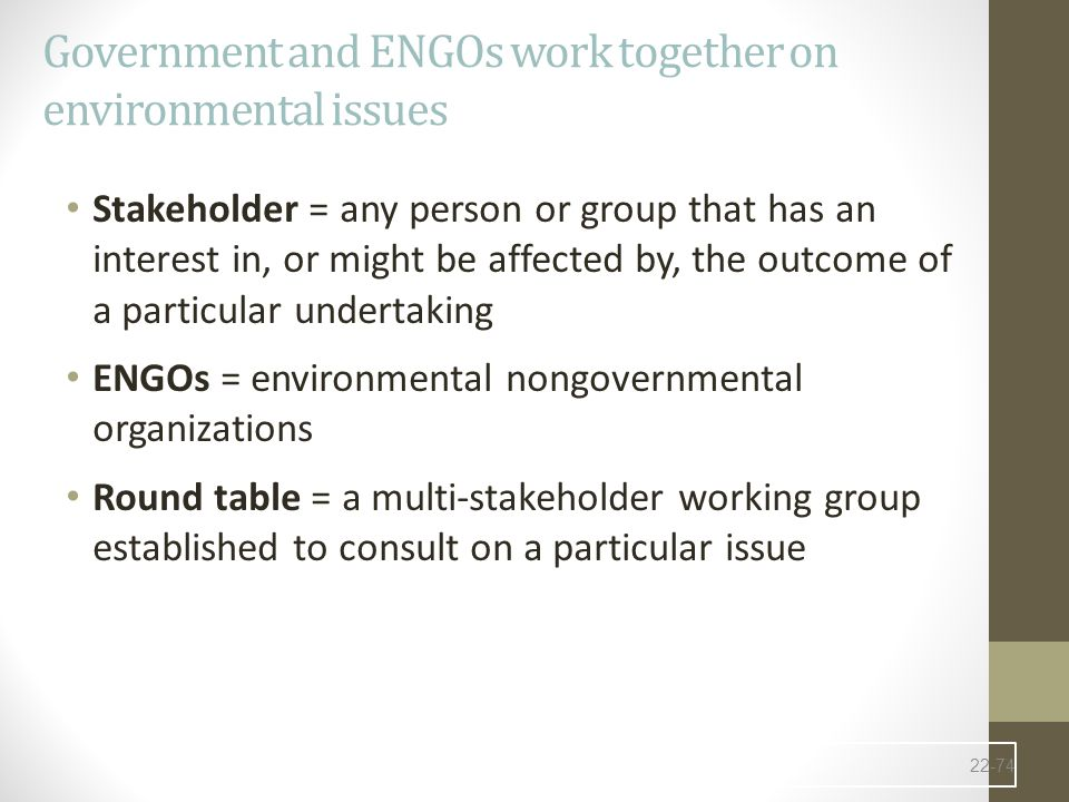 Government and ENGOs work together on environmental issues