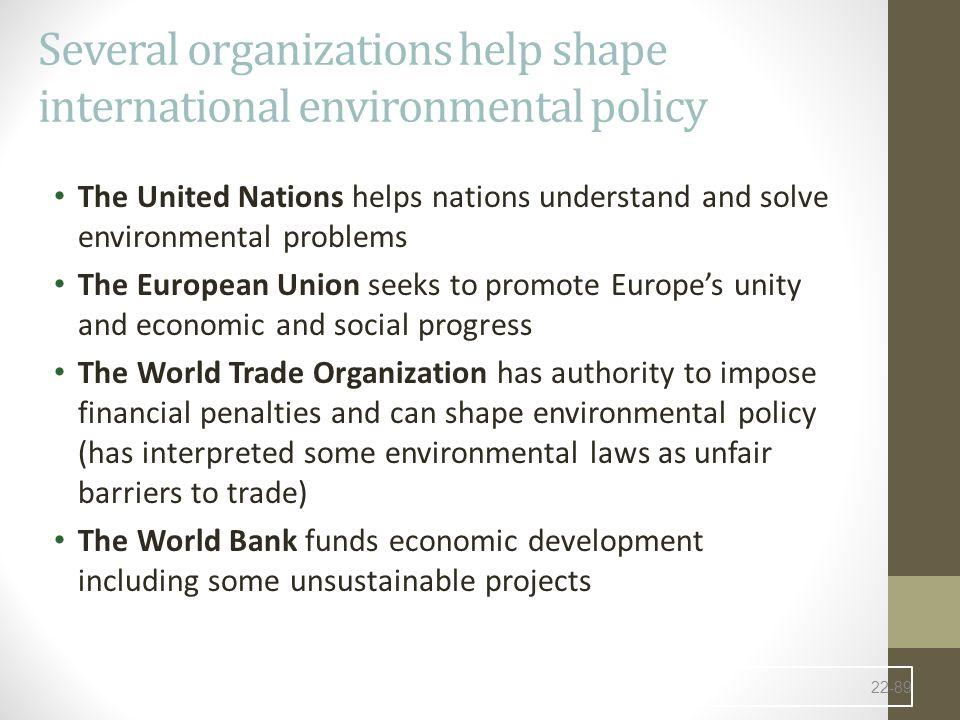 Several organizations help shape international environmental policy