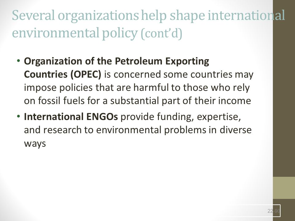 Several organizations help shape international environmental policy (cont'd)