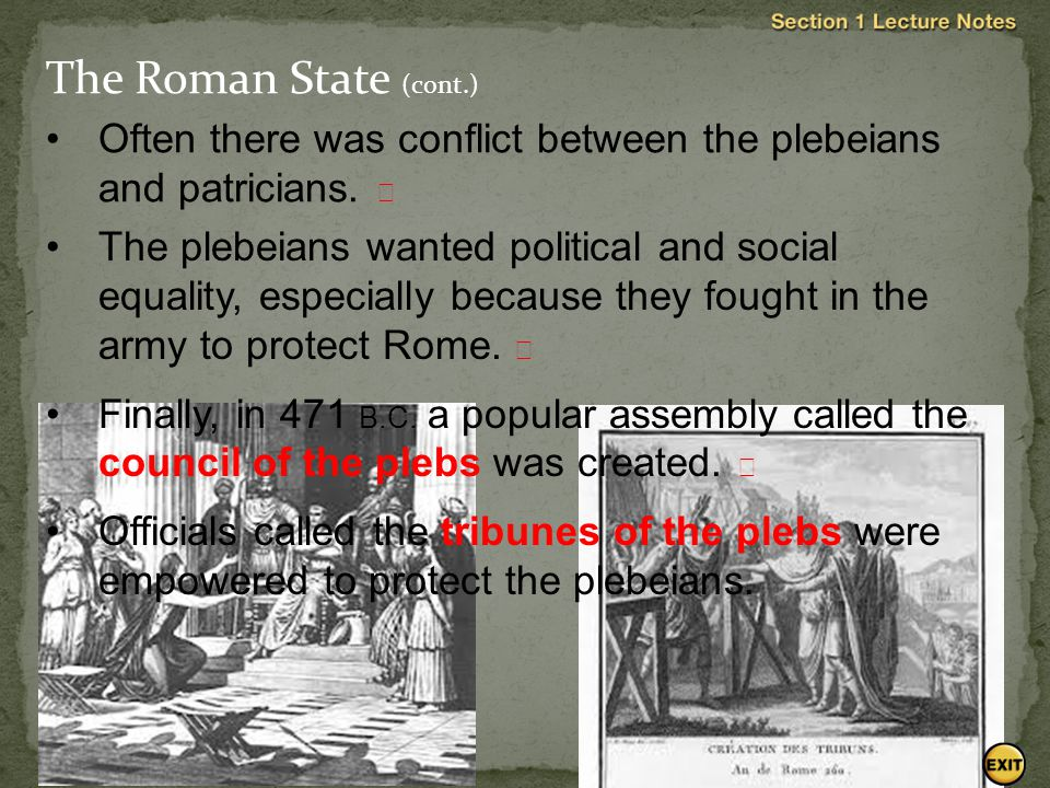 The Roman State (cont.) Often there was conflict between the plebeians and patricians. 