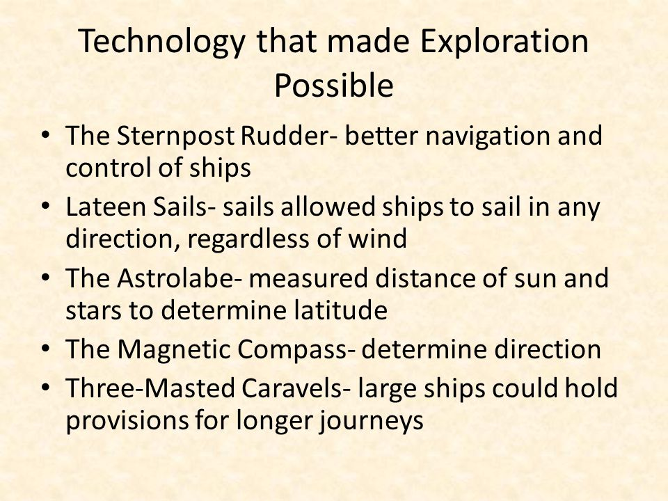 Technology that made Exploration Possible