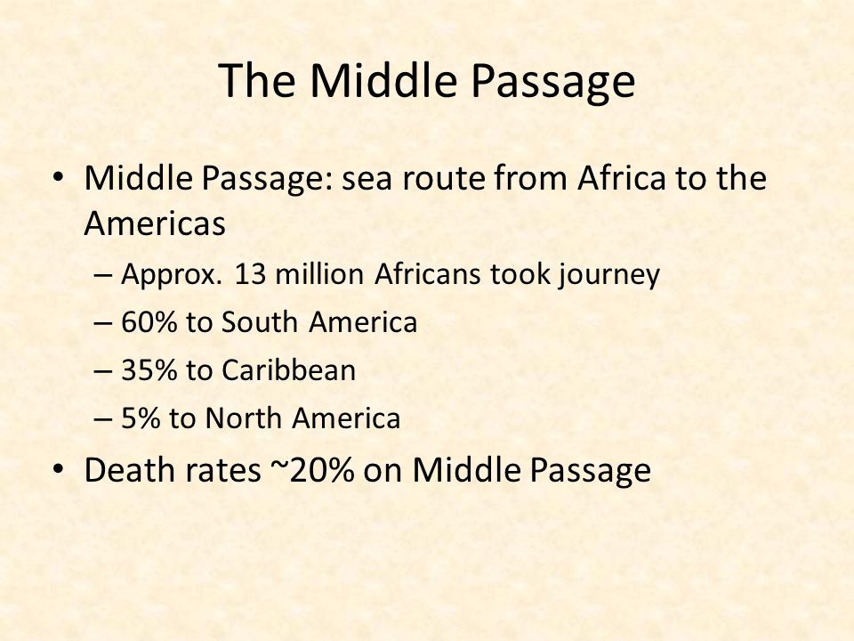 The Middle Passage Middle Passage: sea route from Africa to the Americas. Approx. 13 million Africans took journey.