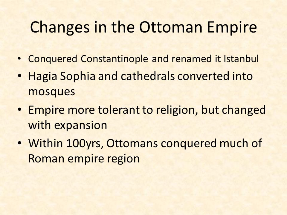 Changes in the Ottoman Empire