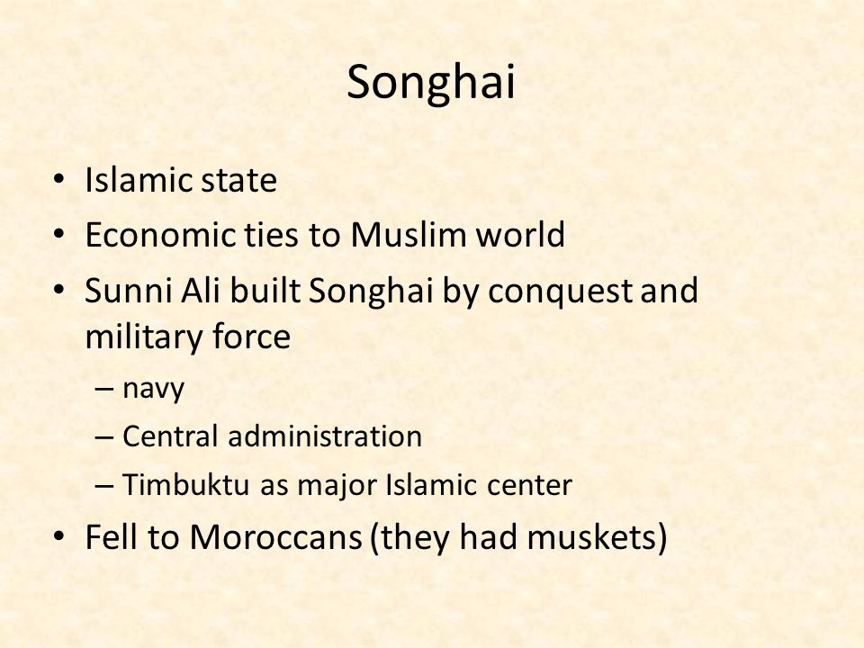 Songhai Islamic state Economic ties to Muslim world