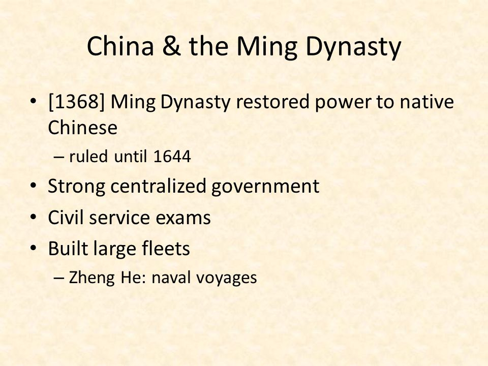 China & the Ming Dynasty