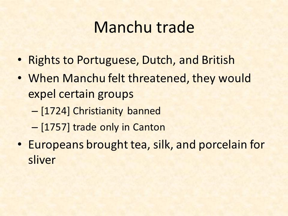 Manchu trade Rights to Portuguese, Dutch, and British