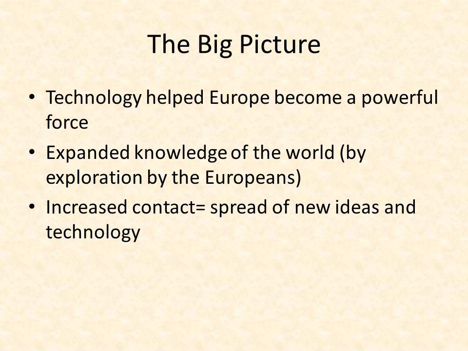 The Big Picture Technology helped Europe become a powerful force
