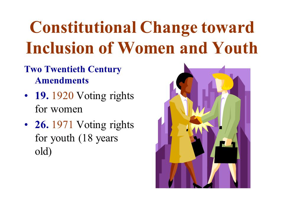 Constitutional Change toward Inclusion of Women and Youth