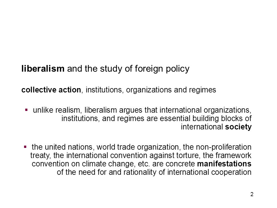 introduction to liberalism chapter 3: liberalism and foreign policy
