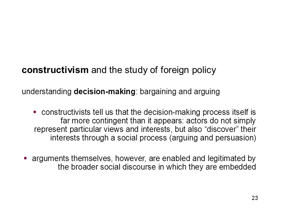introduction to constructivism chapter 4: constructivism and foreign policy
