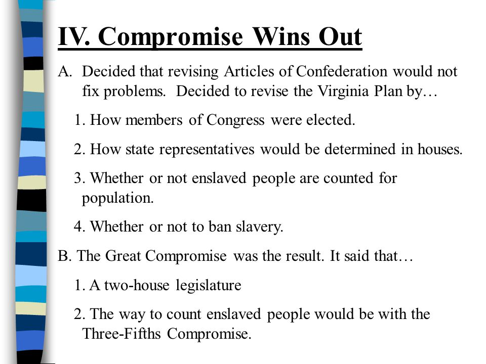 IV. Compromise Wins Out Decided that revising Articles of Confederation would not fix problems. Decided to revise the Virginia Plan by…