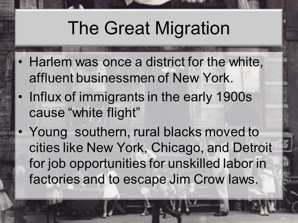 The Great Migration Harlem was once a district for the white, affluent businessmen of New York.