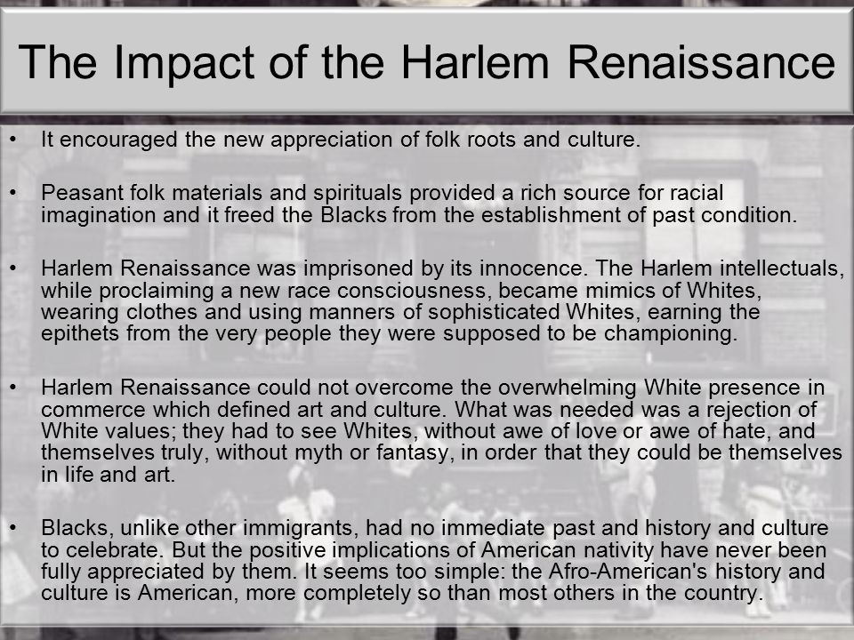 The Impact of the Harlem Renaissance