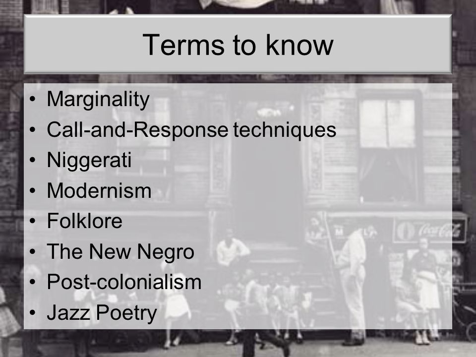 Terms to know Marginality Call-and-Response techniques Niggerati