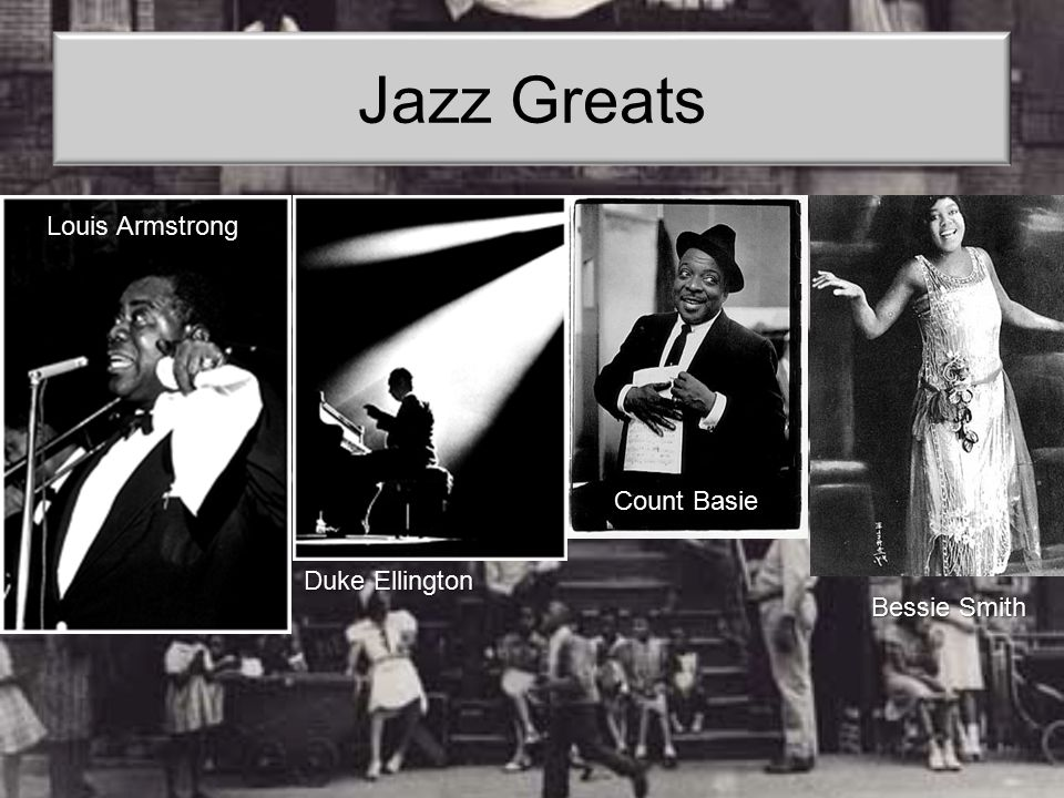 Jazz Greats Louis Armstrong Count Basie Duke Ellington Bessie Smith