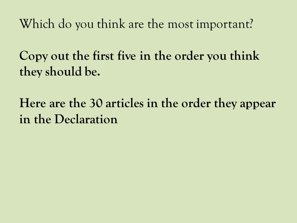 Which do you think are the most important