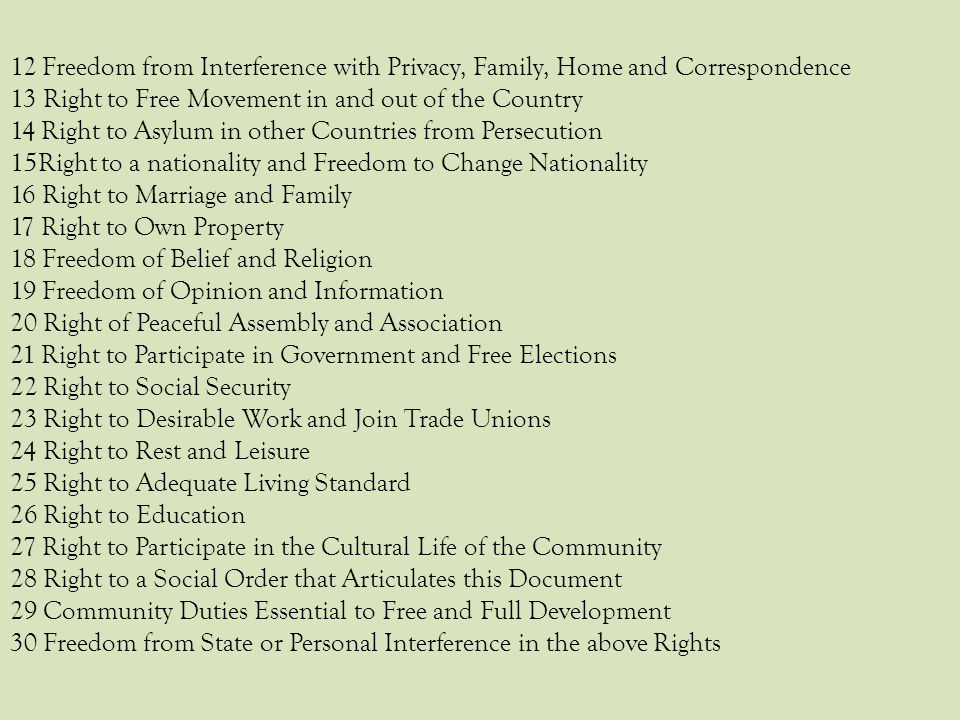 12 Freedom from Interference with Privacy, Family, Home and Correspondence
