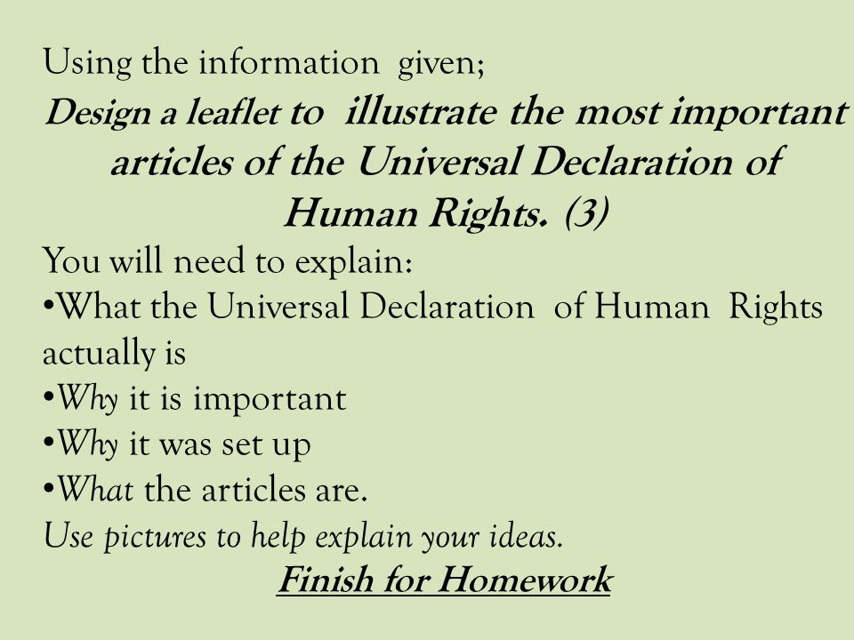 Using the information given;