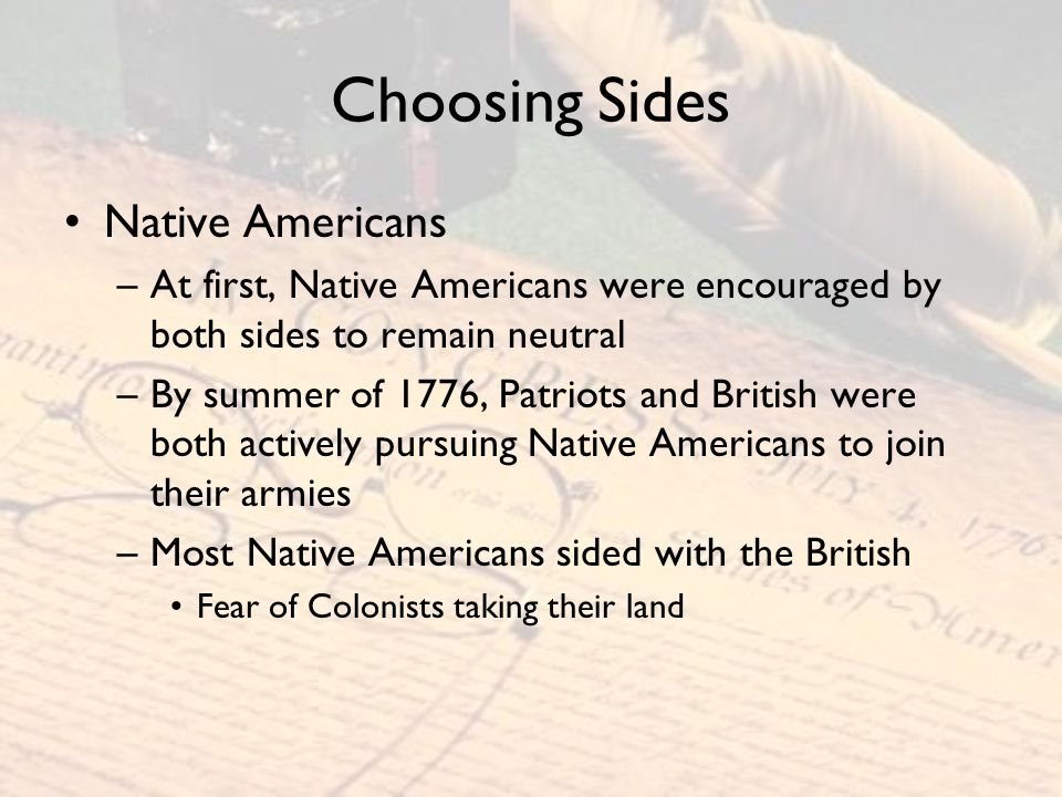 Choosing Sides Native Americans