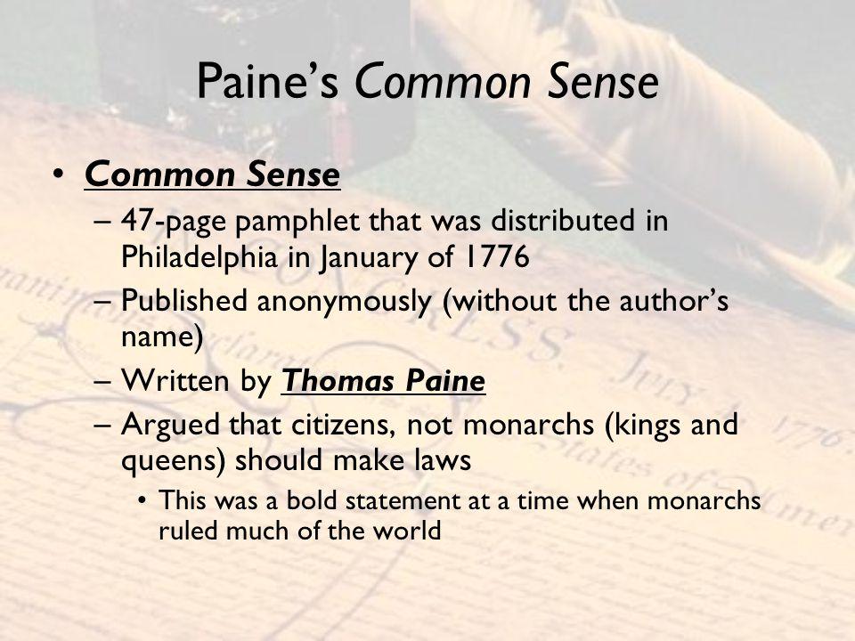 Paine's Common Sense Common Sense