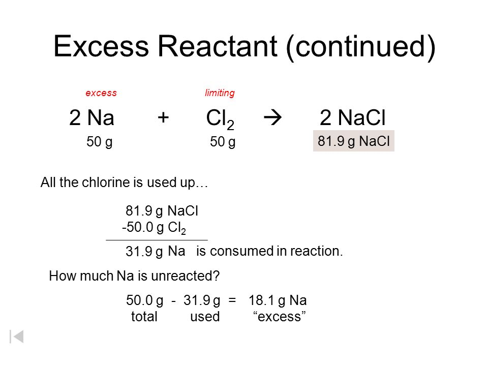 Excess Reactant (continued)