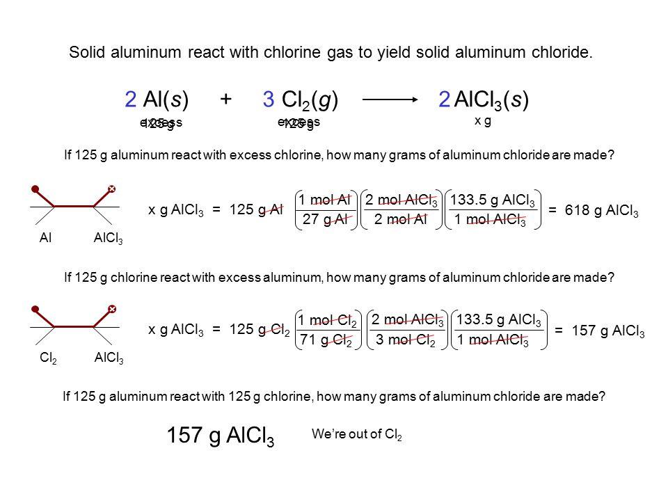 2 Al(s) + Cl2(g) AlCl3(s) 3 2 157 g AlCl3