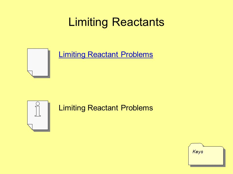 Limiting Reactants Limiting Reactant Problems