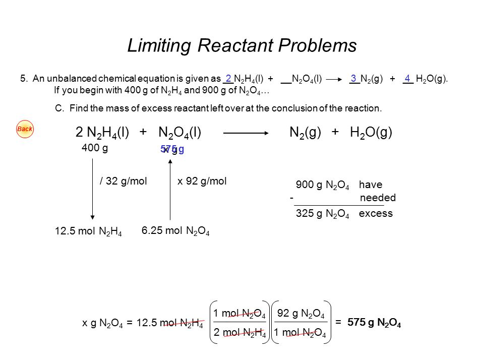 Limiting Reactant Problems