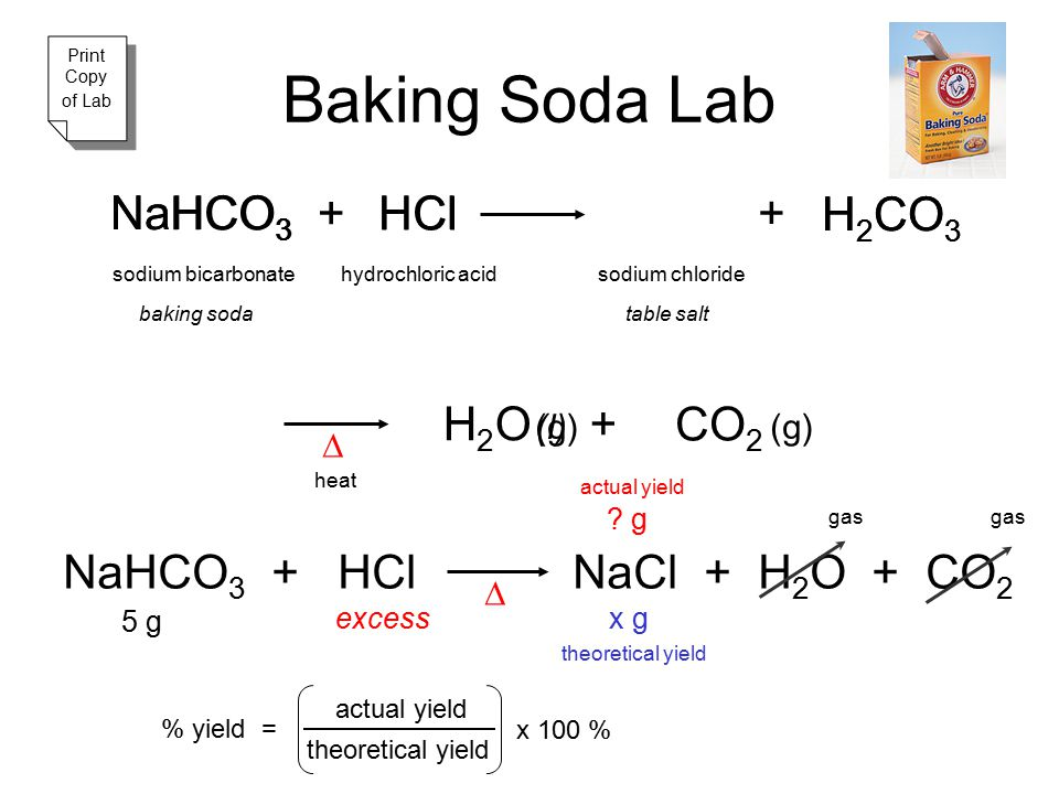 Baking Soda Lab Na NaHCO3 HCO3 + H HCl Cl + H2CO3 H2CO3 H2O + CO2