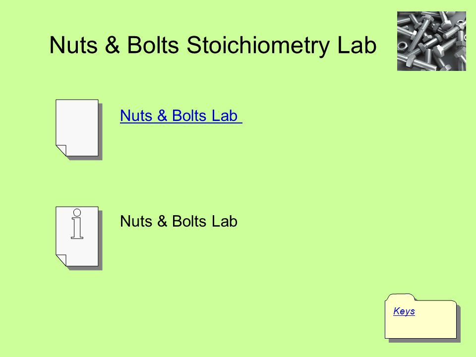 Nuts & Bolts Stoichiometry Lab