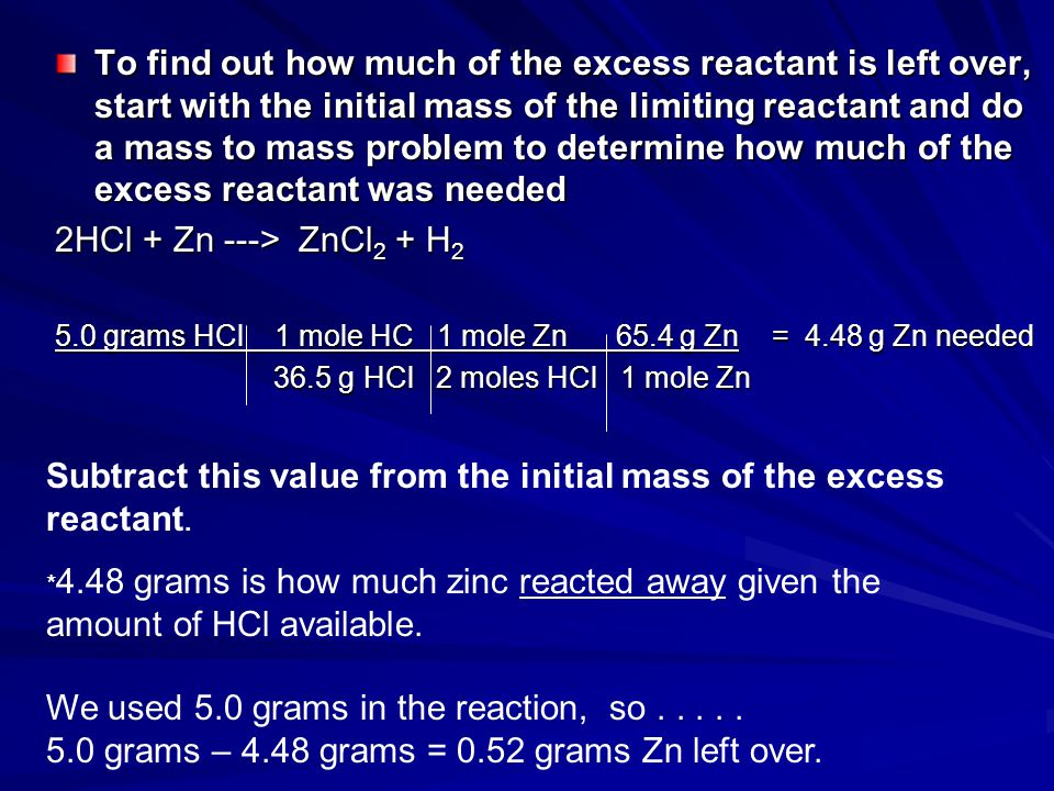 Subtract this value from the initial mass of the excess reactant.
