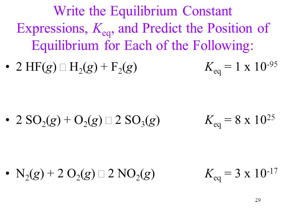 Write the Equilibrium Constant Expressions, Keq, and Predict the Position of Equilibrium for Each of the Following: