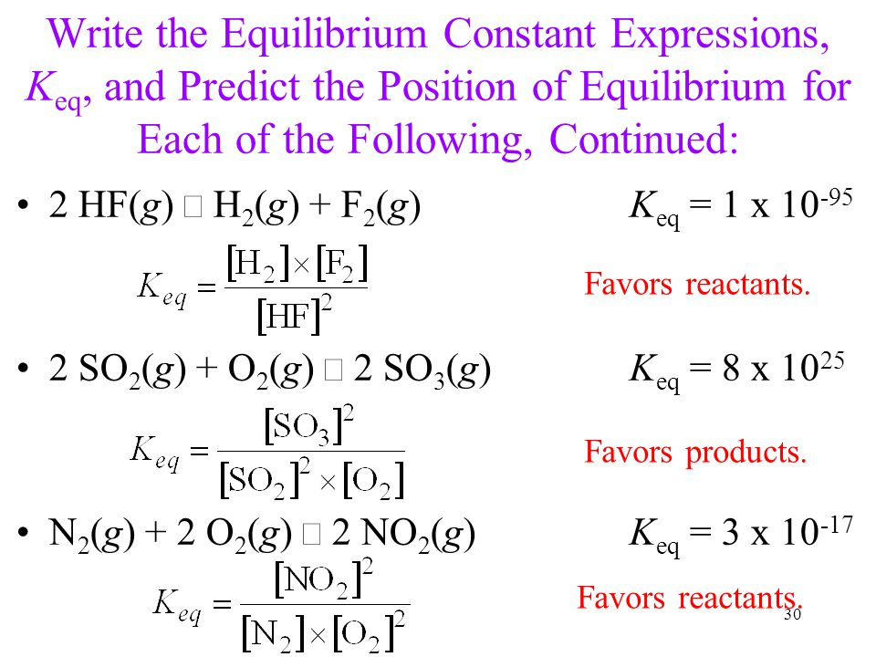 Write the Equilibrium Constant Expressions, Keq, and Predict the Position of Equilibrium for Each of the Following, Continued: