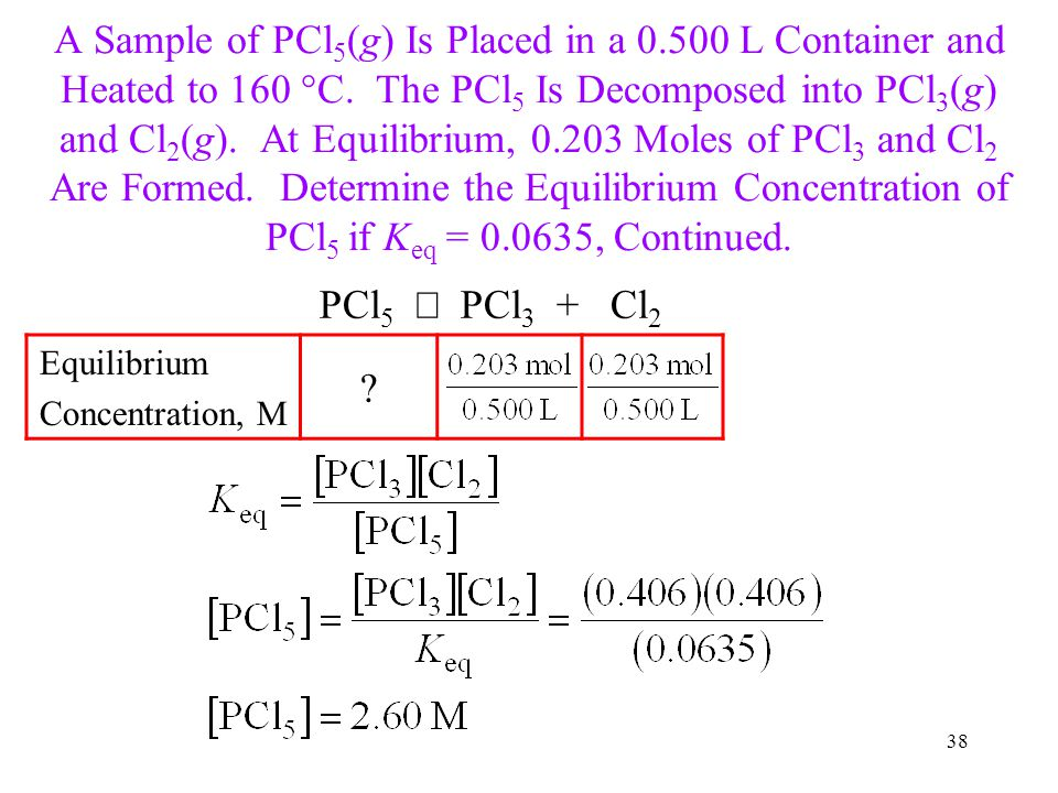 A Sample of PCl5(g) Is Placed in a 0