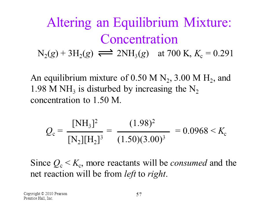 Altering an Equilibrium Mixture: Concentration