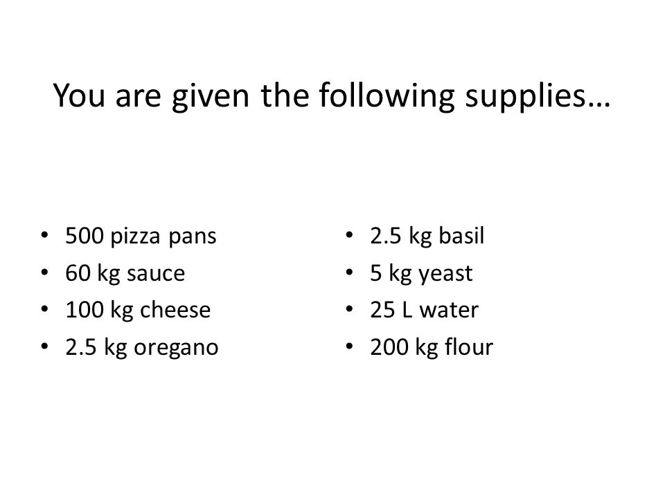 You are given the following supplies…