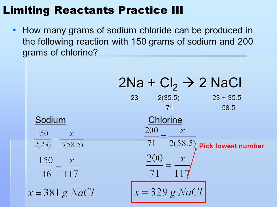 Limiting Reactants Practice III