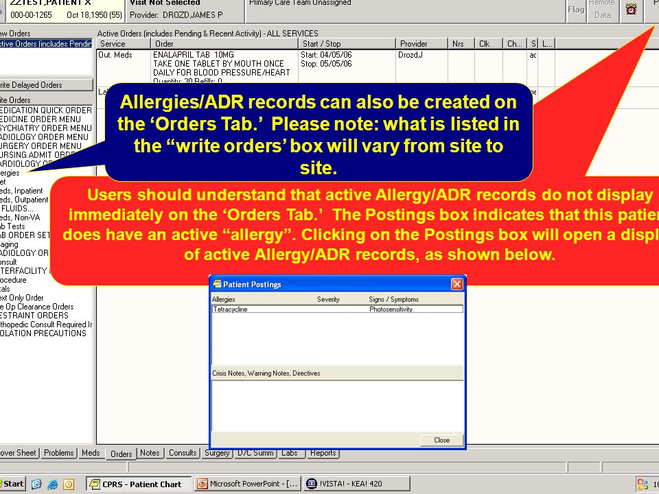 Allergies/ADR records can also be created on the 'Orders Tab
