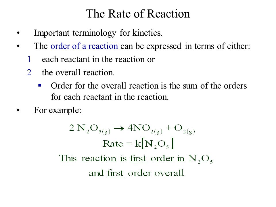The Rate of Reaction Important terminology for kinetics.