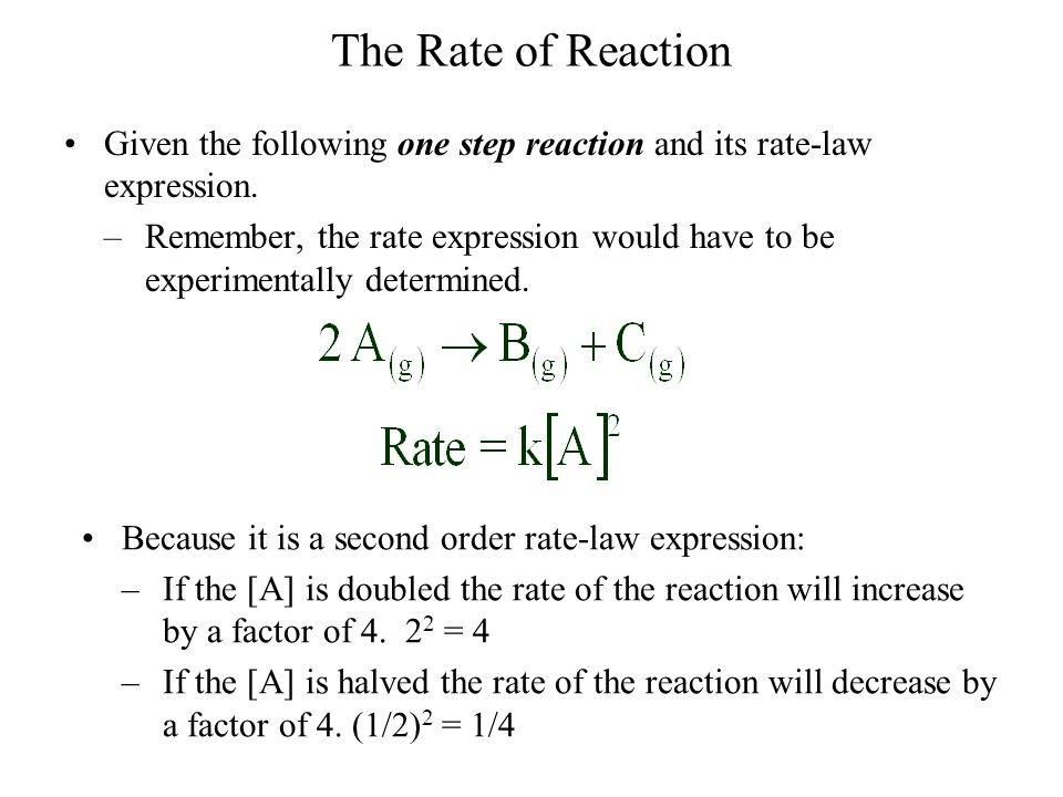 The Rate of Reaction Given the following one step reaction and its rate-law expression.