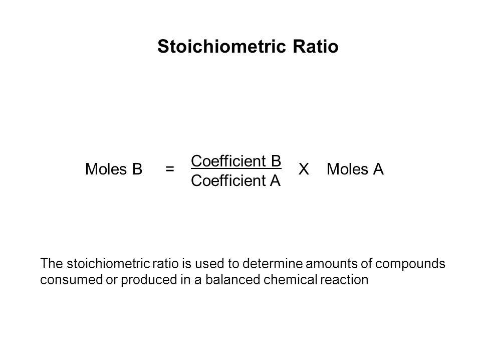 Stoichiometric Ratio Coefficient B Moles B = X Moles A Coefficient A