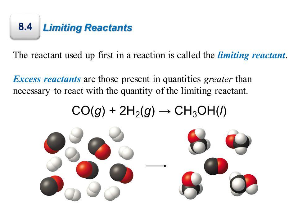 CO(g) + 2H2(g) → CH3OH(l) 8.4 Limiting Reactants