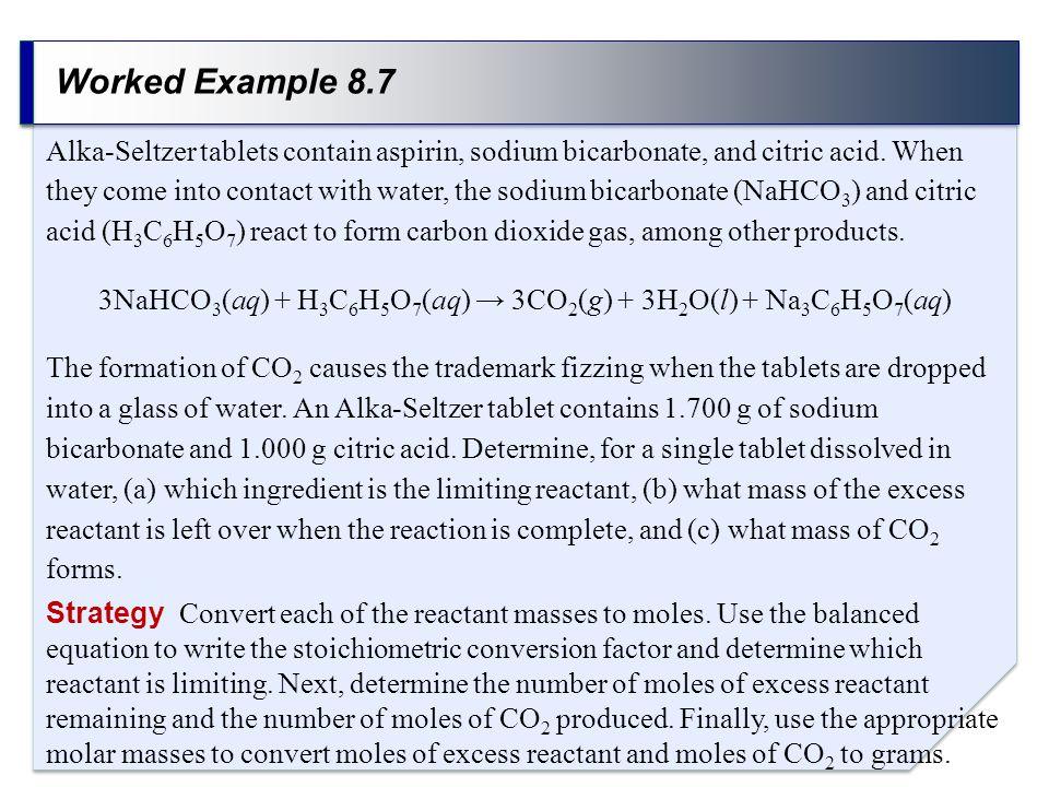 3NaHCO3(aq) + H3C6H5O7(aq) → 3CO2(g) + 3H2O(l) + Na3C6H5O7(aq)